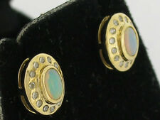 Lovely Genuine 9ct Solid Gold NATURAL Opal & Diamond Stud Earrings