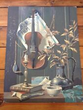 """Amazing Vtg Violin Memories Still Life Paint by Numbers PBN Painting Art 18""""x24"""""""