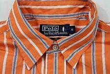 TC5322 Polo by RALPH LAUREN Herren-Hemd Orange Blau Weiß Streifen Lang M wie Neu