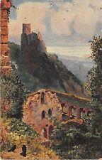 B93471 ruine giersberg painting postcard hoffmann Burg Girsberg france