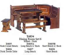nook dining kitchen bench table Set dollhouse miniature furniture 1/12 scale new