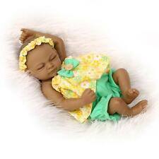 "11"" Black Lifelike Reborn Baby Doll Soft Silicone Lifelike Sleeping Girl"