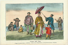 1858 COSTUMI CINESI litografia originale 中国海关 Chinese customs China
