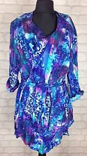 WOMENS VINTAGE RETRO 90'S BRIGHT PATTERN KIMONO WRAP BLOUSE SHIRT FESTIVAL UK M