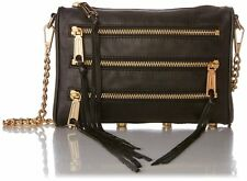 New $198 Rebecca Minkoff Mini 5 Zip Convertible Crossbody Bag Black Holiday sale
