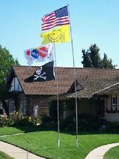 16' Fiberglass Heavy Duty Telescoping Flag Pole w/ Flag