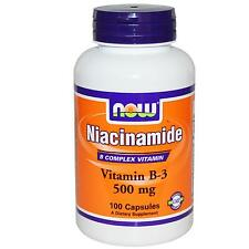 Niacinamide - 100 - 500mg Capsules by Now Foods - No Flush Niacin (Vitamin B3)