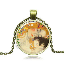 Vintage Mother and son Cabochon Bronze Glass Chain Pendant Necklace BA107