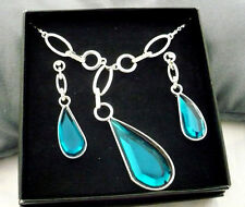 "Avon? abstract large turquoise ""stone""necklace & earrings set in silver"