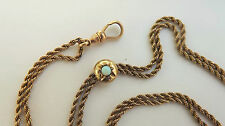 ANTIQUE VICTORIAN 9K GOLD OPAL SLIDE NECKLACE WATCH FOB LORGNETTE GUARD CHAIN