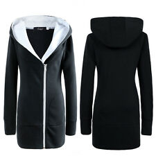 New Women Oversized Hoodie Jacket Ladies Long Zipper Outwear Coat Plus size 6-20