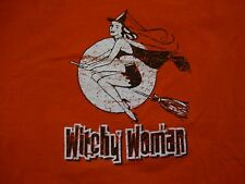 Witchy Woman Halloween Spooky Cute Girl Distressed Cotton Orange T Shirt Size XL