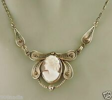 ANTIQUE NECKLACE/PENDANT VICTORIAN GOLD PLATED CARVED CAMEO SHELL PORTRAIT LADY