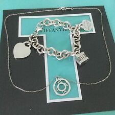 Tiffany & Co. Atlas Set. Necklace Bracelet Heart Authentic Charms Excellent Cond