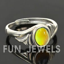 Sterling Silver Oval Mood Ring Vintage Antique Silver Multi Colored Change Retro