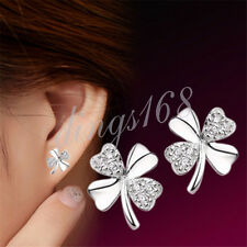 925 Sterling Silver Nickle/Lead Free Four leaf Clover Stud Earrings H1301