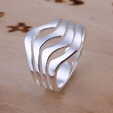 Modern Women Jewelry 925 Sterling Silver Plated Fashion Four Wave Ring Jewelry