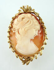 Possibly David Webb 18k Yellow Gold Shell Lady Portrait Cameo Brooch Pendant