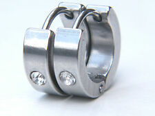 EARRINGS STAINLESS STEEL 316 L CRYSTAL  MENS WOMENS 1 PAIR
