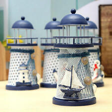 Mediterranean Lights house Iron Candle Light Blue White Home Table Decor New