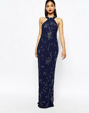 Virgos Lounge Norma All Over Embellished High Neck Trophy Maxi Dress Navy Uk 14