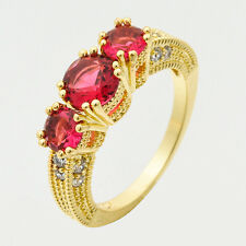 Noble 2.58ct Ruby&White Diamonique Wedding Engagement 14k Y/ Gold Filled Ring 9#