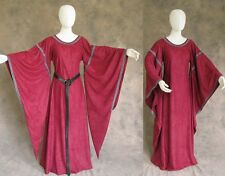 Burgundy Medieval Bell Sleeve Dress Gown SCA Game of Thrones Cosplay LARP S M