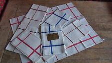 French Vintage  6 Traditional Metis Linen Cotton Stripe Tea Towels Glass cloths