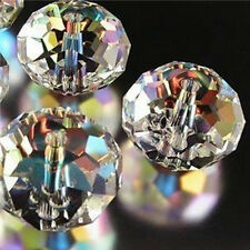 100pcs 6X4mm Clear +AB Crystal Faceted Gems Loose Beads