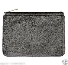 NWT Banana Republic Silver Leather Tablet Ipad Clutch Envelope Zip Purse $79 NEW