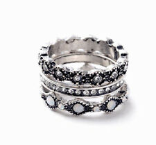 3pcs/Set Size 7 Europe Retro Silver Geometric Flower Crystal Lady Finger Ring