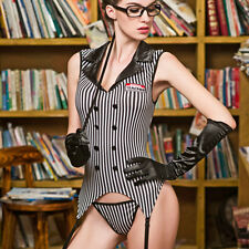 8 Pce Sexy Teacher/Secretary Costume Body Stockings Gloves Thong Glasses Size 10
