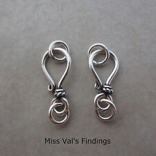 2 sterling silver Bali small hook eye clasp with rope