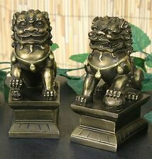 Small Pair of Asian Foo-Dogs Fu Dog Male Female Collectible Figures
