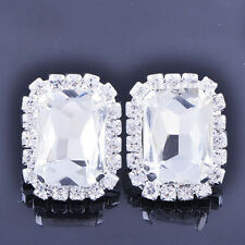 Fashion Womens silve plated Clean Big Square Crystal Clean CZ Stud Earrings