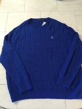 NWT RALPH LAUREN POLO MENS BLUE CABLE KNIT SWEATER LT LARGE TALL $125
