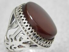 HAND MADE COSTUME CARVE CUT MEN'S SILVER RING WITH GENUINE LARGE AQEEQ STONE