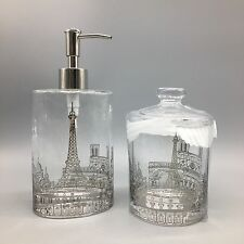 Paris Eiffel Tower Glass Oval Soap Dispenser & Cotton Ball/Swab Jar Bath Set NEW