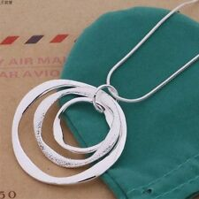New Hot Women Fashion 925 Sterling Silver Plated 3 Large Round Pendant Necklace