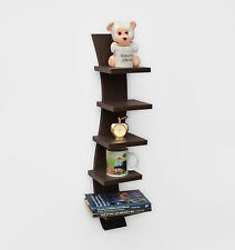 USHA Furniture Curve Shape 5-tier Wall Shelves -Laminated Brown