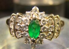 Genuine 10 K Solid Yellow Gold CZ And Emerald Green Stone Size 7 Ring