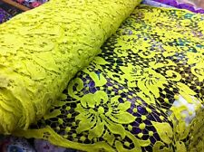 "Lime Yellow Cotton Mix non-stretchy lace fabric beautiful floral design 36""wide"