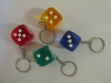 12 Plastic DICE KEYCHAINS key chains FREE S/H casino game night party favors