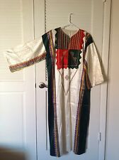 Ivory/Red/Green Arab Lebanese Women's Traditional Dress Jalabiya Size L