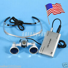 USA Dental Surgical Binocular Loupes Glasses Lens 3.5X + LED Head Light Silver