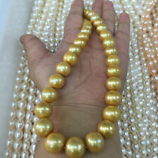 Big 18 inch 16-12 mm south sea golden pearl necklace 14k gold clasp