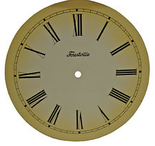 "New 10"" Antiqued Metal Ivory Clock Dial with Black Roman Numbers (C-605)"