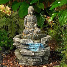 NEW Indoor Outdoor Buddha Water Fountain LED Lighted Serene Zen Garden Decor New