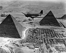 New 8x10 World War II Photo: Supply Transport Airplane Over the Pyramids, Egypt