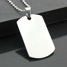Man Cool Military Army Style ID Dog Tags Chain Necklace Stainless Steel Pendant